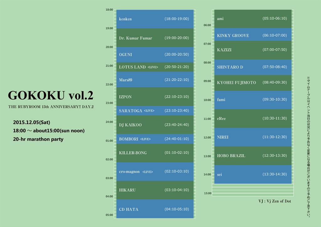 『GOKOKU vol.2』at THE RUBYROOM