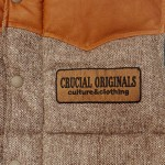 [CRUCIAL ORIGINALS]-REVERSIBLE TWEED VEST-BRN/GRY-