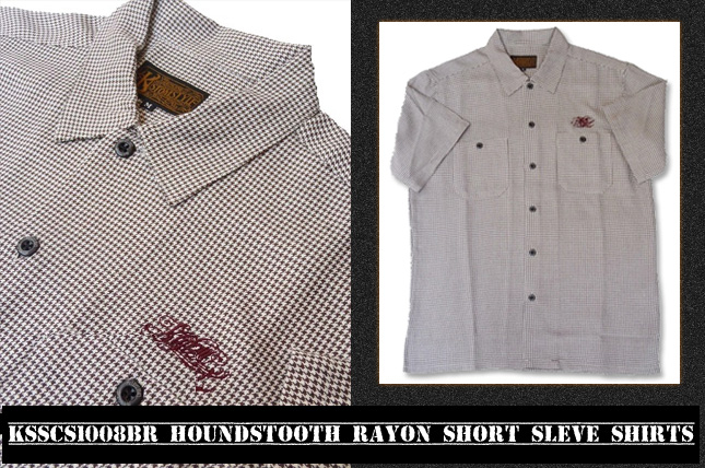 HOUNDSTOOTH RAYON SHORT SLEVE SHIRTS BROWN