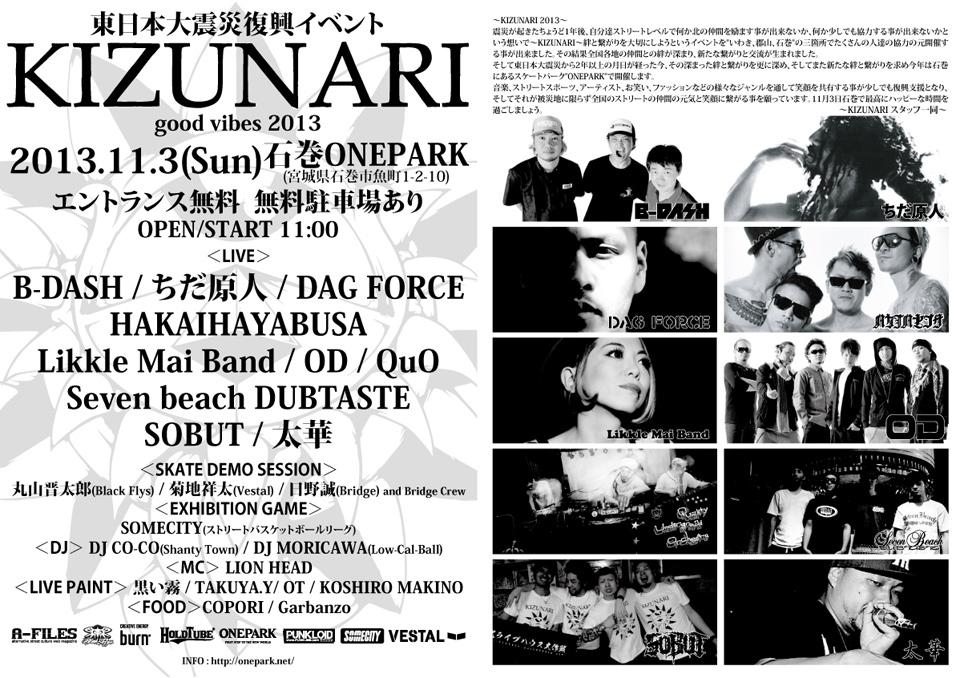 東日本大震災復興イベント 『KIZUNARI~good vibes~2013』