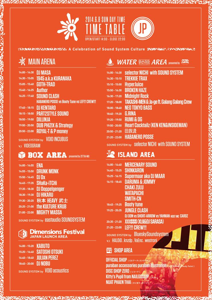 OUTLOOK FESTIVAL 2014 タイムテーブル