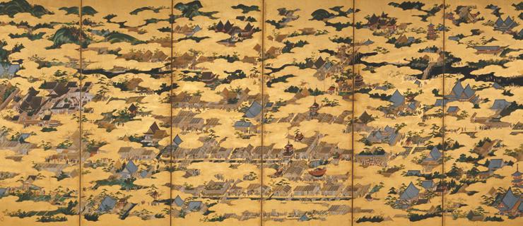 国宝 上杉本 洛中洛外図屏風 左隻 狩野永徳筆 16世紀後期 米沢市上杉博物館蔵 ※京都会場で展示