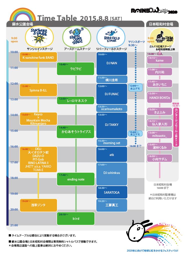 Rainbow CHILD 2020 – 2015.08.08 (Sat) at 岐阜県八百津町蘇水公園&美濃加茂市日本昭和村 /タイムテーブル