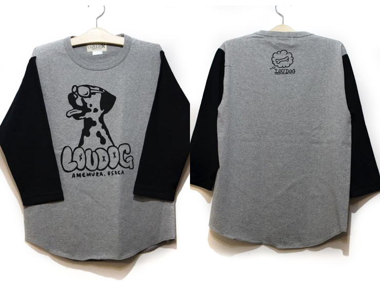 LOU DOG Baseball ラグランTee -Gray/Black-