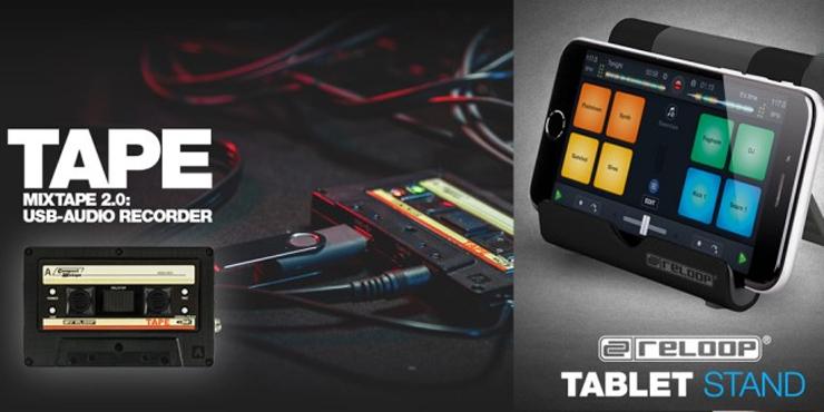 Reloop社よりテープ型のMP3レコーダーとタブレットスタンドがリリース。