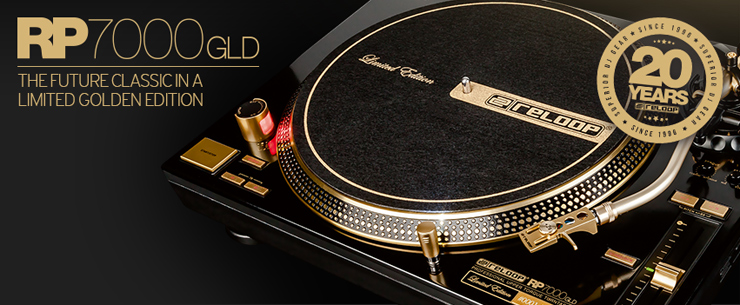 Reloop社20周年記念モデルPROFESSIONAL UPPER TORQUE TURNTABLE『RP-7000 GLD』2016年9月1日より国内販売開始。