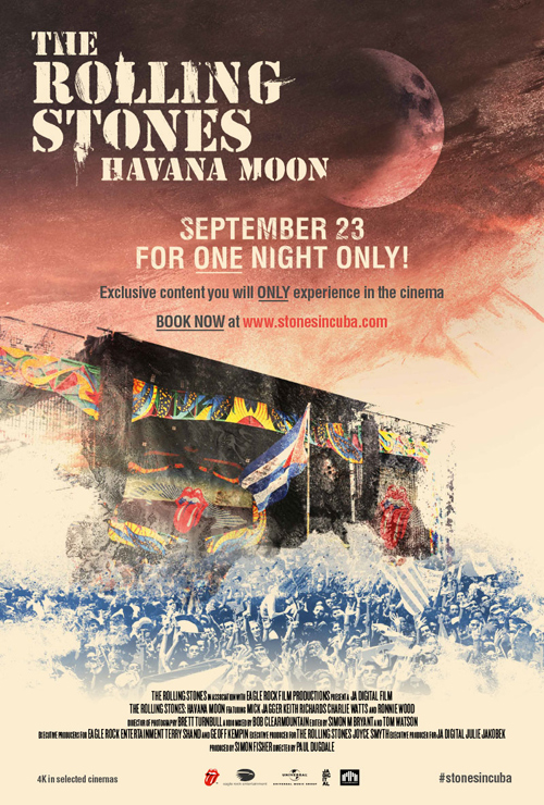 THE ROLLING STONES 世界最速!『ハバナ・ムーン ストーンズ・ライヴ・イン・キューバ2016』1夜限りのジャパン・プレミア上映 2016年9月23日(金)全国21の劇場]で上映
