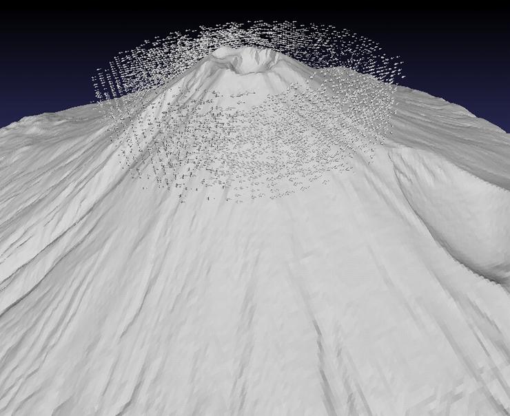 古賀良太「富士山 with ベクトル層流」、 iPad、 STLデータ、 透明樹脂、 3Dプリント(実際の展示物の一部です)