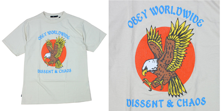 OBEY BIGTシャツ CHAOS EAGLE ナチュラル