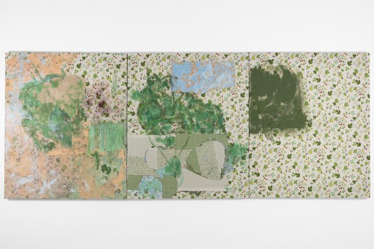 松浦寿夫《同じ、異なった葉 》2018      72.5x181.5cm、綿布、紙、アクリル、パステル
