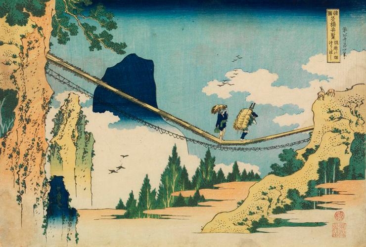 葛飾北斎「諸国名橋奇覧 飛越の堺つりはし」(前期)すみだ北斎美術館蔵