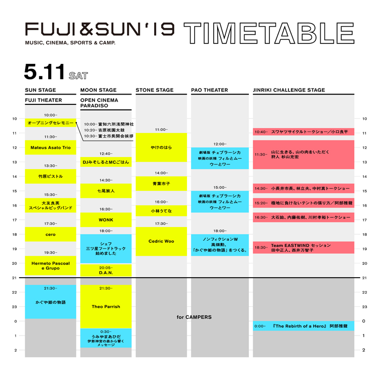 『FUJI & SUN '19』2019年5月11日(土) 12日(日)