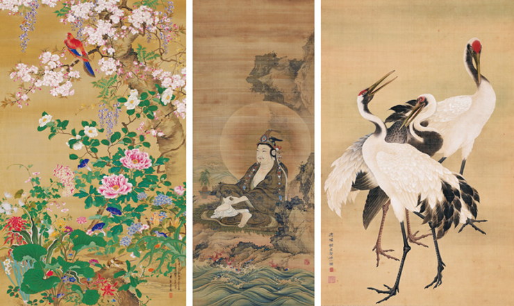 左から:堀江友聲《百花群鳥図》手錢記念館(出雲市)蔵、 《楊柳観音像》個人蔵、 《鶴図》 個人蔵