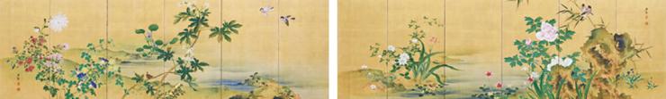 堀江友聲《四季草花図》 島根県立古代出雲歴史博物館(出雲市)蔵