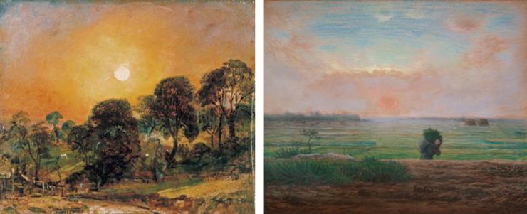 (左)ジョン・コンスタブル《ハムステッド・ヒースの木立、 日没》1821年 静岡県立美術館【展示期間】9月4日-9月9日(右)ジャン=フランソワ・ミレー 《夕陽》1867年頃 ひろしま美術館【後期展示】10月9日-11月4日