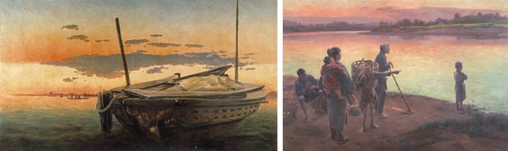 (左)高橋由一《芝浦夕陽》1877年 金刀比羅宮(右) 和田英作《渡頭の夕暮》1897年 東京藝術大学