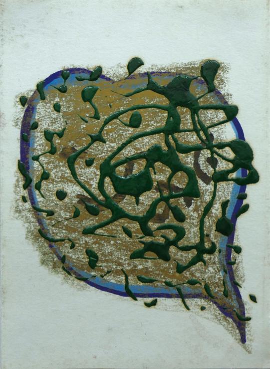 不詳  1950後半- 60年代前半か  ペンキ・クレヨン・インク・紙か  20.0×14.5 cm