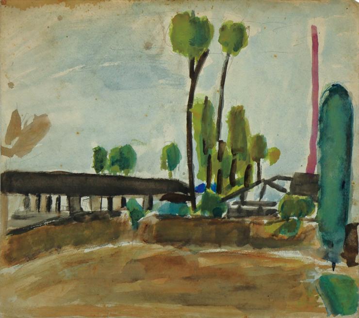不詳  1930年代か  水彩・紙か  25.0×27.9 cm