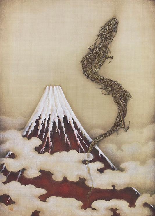 「赤富士」(あかふじ) M20号 岩彩 税込1,056,000円