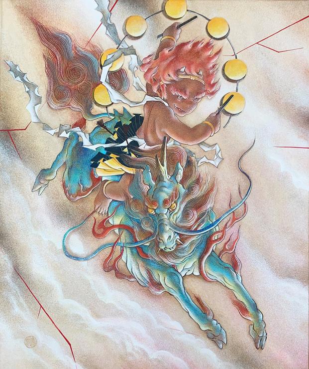 「麒麟」(きりん) F8号 岩彩 税込528,000円