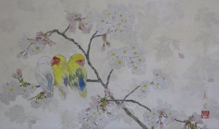 河本真里 「小桜」 8号M 日本画 税込352,000円
