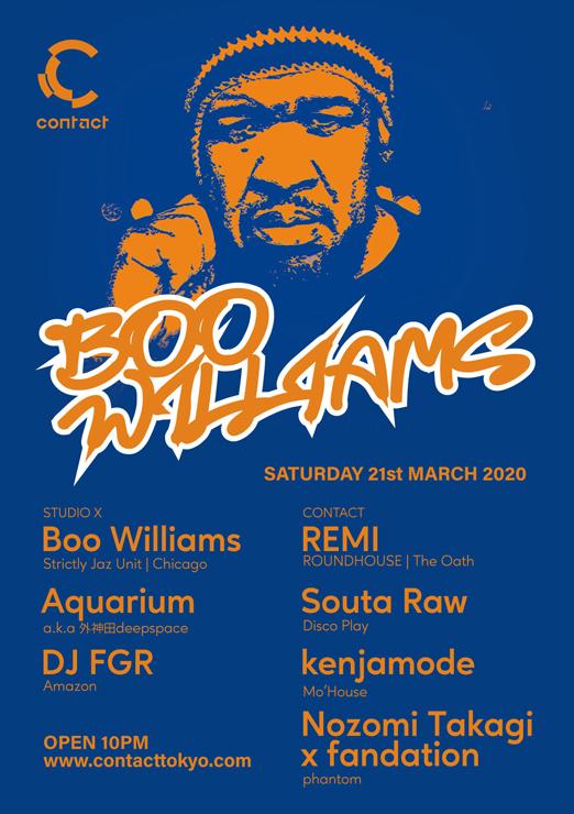 Boo Williams 来日公演 - 2020年3月21日(土)at 渋谷 Contact