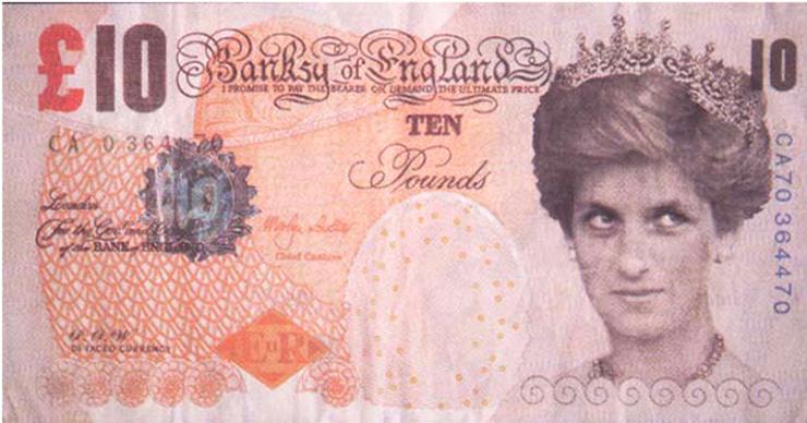 バンクシーの作品「偽10ポンド紙幣
