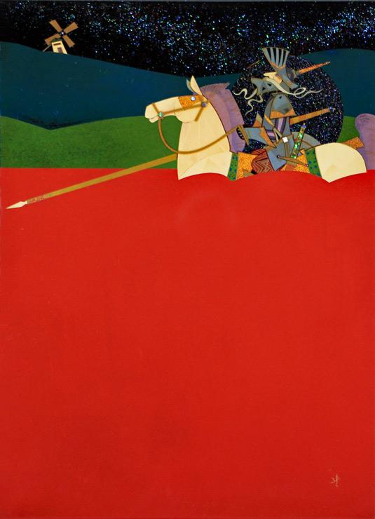 田中貴司 漆額「夢追い人」ドン・キホーテ 34cm×24.5cm