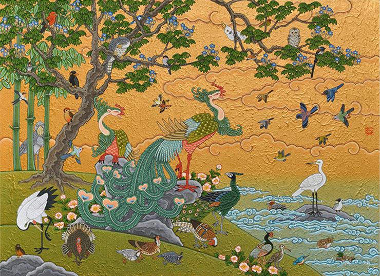 「鳳凰群鳥図」 20号 竹紙