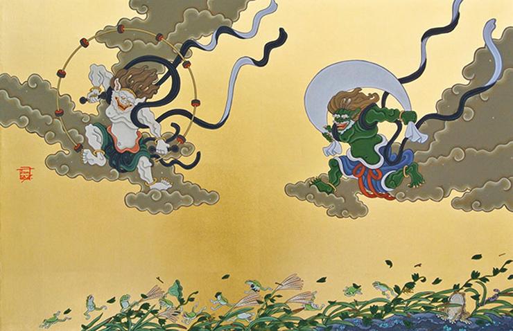 「風神雷神」 20号 竹紙