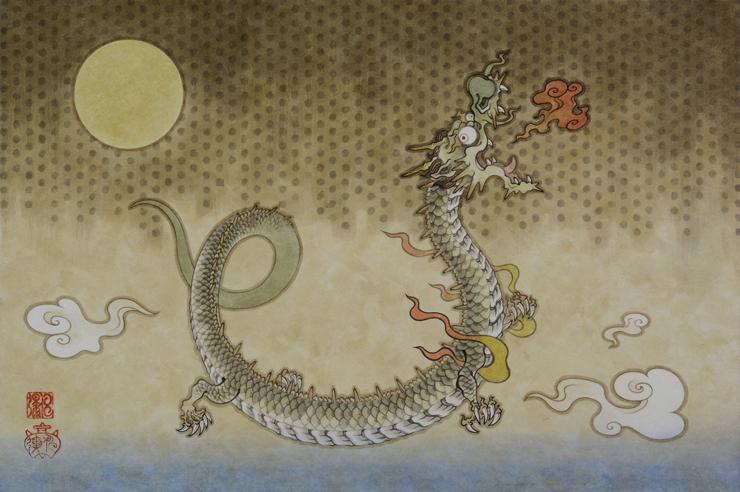「子龍図」 紙本彩色  6号P