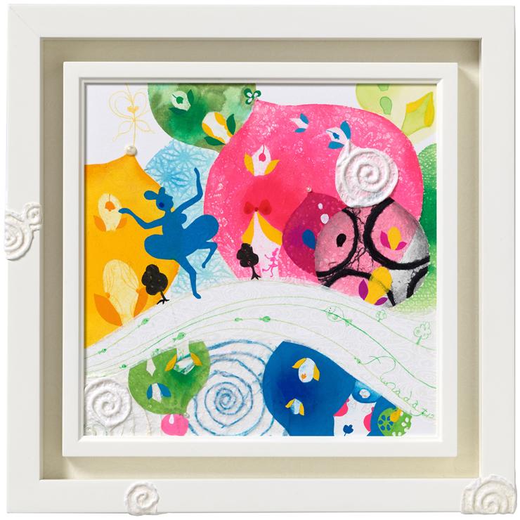 「cube sugar town」絵画 (和紙、 水彩、 アクリル、 色鉛筆) 3号S