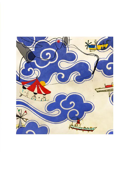 「travelling un」銅版画 (エッチング、 ドライポイント、 手彩色、 唐紙) 3号S