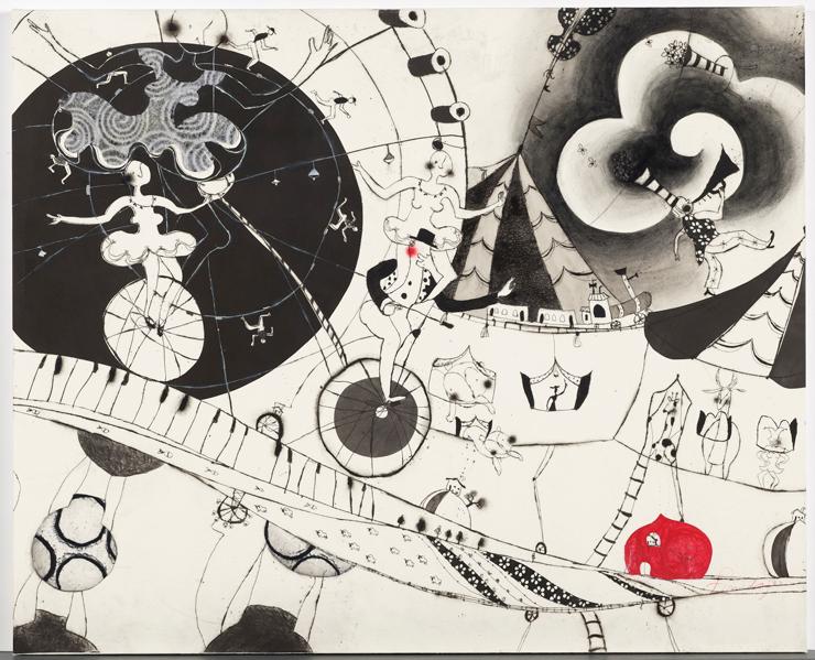 「chocolate toy circus」銅版画 (エッチング、 ドライポイント、 シンコレ、 レリーフ、 手彩色、 和紙) 25号