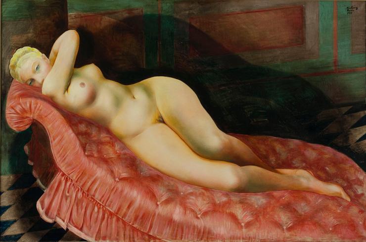 """Moïse Kisling (1891-1953). """"Nu au canapé rouge"""". Huile sur toile. Paris, musée d'Art moderne."""