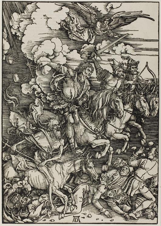 アルブレヒト・デューラー(1471-1528) 『黙示録』より「四人の騎者」 1498年頃(1511年刊) 木版 町田市立国際版画美術館蔵