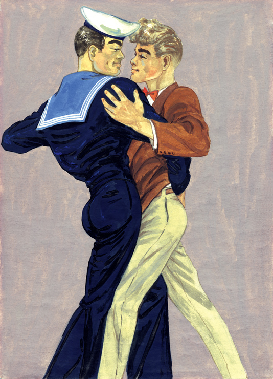 TOM OF FINLAND (Finnish, 1920-1991),Tom's Finnish Tango, 1947, Gouache on paper, 11.38 in. x 8.13 in., Tom of Finland Foundation permanent collection, © 1947 - 2020 Tom of Finland Foundation
