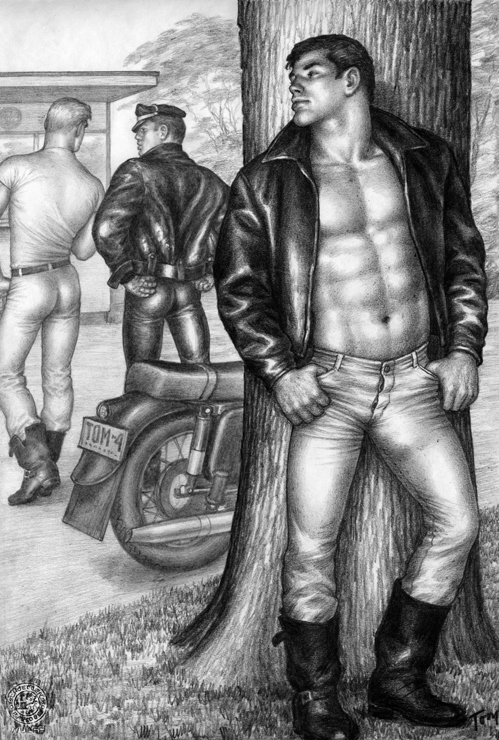 "TOM OF FINLAND (Finnish, 1920-1991), Untitled(From the Athletic Model Guild ""Motorcycle Thief"" series), 1964, Gouache on paper, 12.69 in. x 8.63 in., Tom of Finland Foundation permanent collection, © 1964 - 2020 Tom of Finland Foundation"