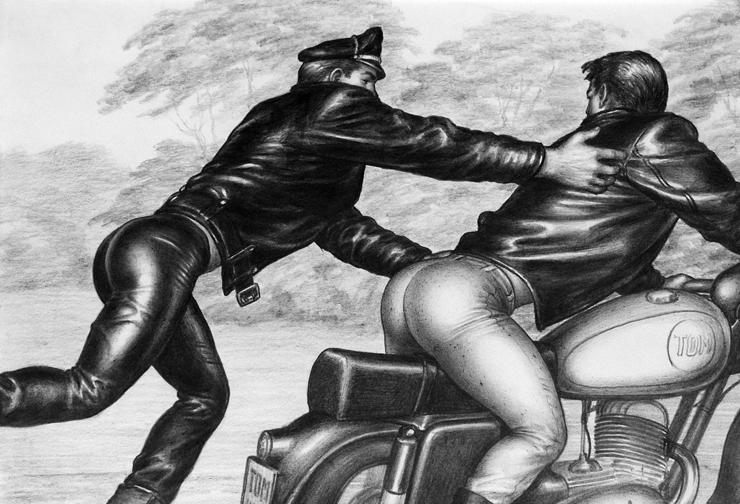 "TOM OF FINLAND (Finnish, 1920-1991), Untitled (From the Athletic Model Guild ""Motorcycle Thief"" series), 1964, Gouache on paper, 8.88 in. x 12.88 in., Tom of Finland Foundation permanent collection, © 1964 - 2020 Tom of Finland Foundation"