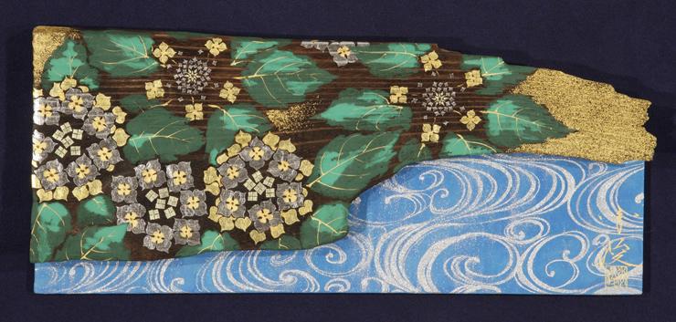 並木 秀俊 「八仙華」 16.5×39.0cm 日本画(桐板・岩絵具・金箔・白金箔)
