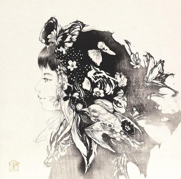 吉田 潤 「Love」 30.0×30.0cm 日本画(和紙・墨)
