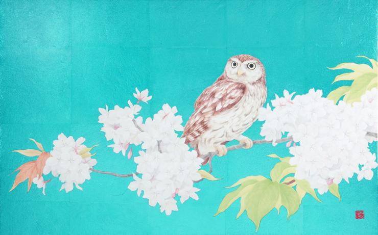 三枝 淳 「梟図」 10M 日本画(和紙・岩絵具・色箔)