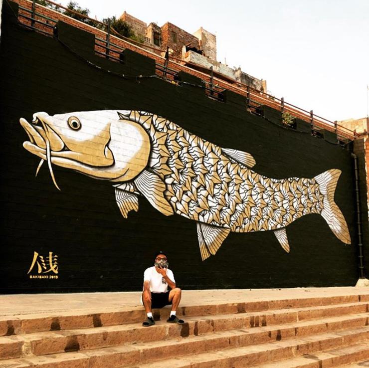 バラナシ(インド)でのウォールアート