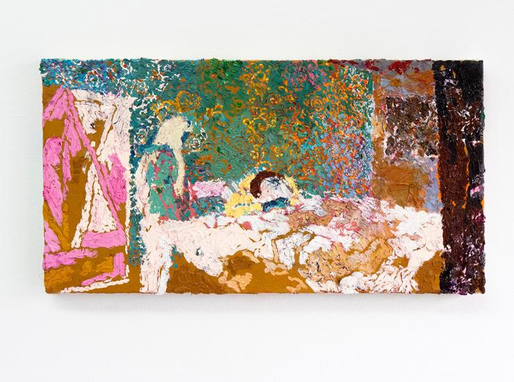 安藤裕美 《眠るわきもととシエニーチュアン》 2021年  キャンバスに油彩  24.4×45.8cm