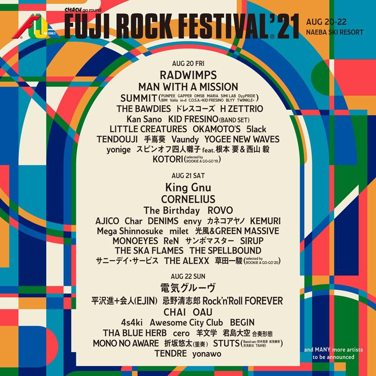 FUJI ROCK FESTIVAL '21 ~出演アーティスト第1弾~