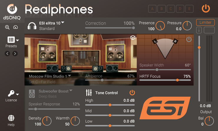 """バンドルソフト """"dSONIQ Realphones ESI Edition"""""""