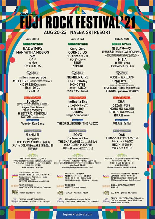 FUJI ROCK FESTIVAL '21 ~最終ラインナップ、タイムテーブル発表~
