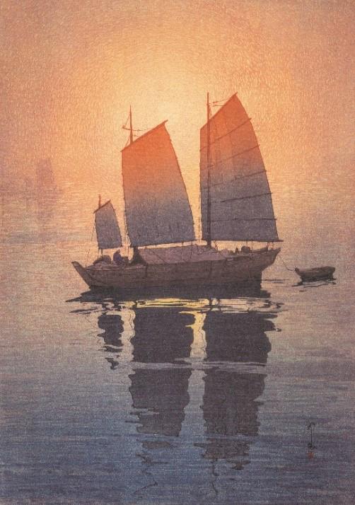 帆船 朝 瀬戸内海集